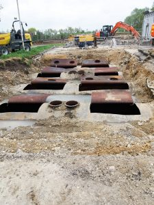 Underground tanks cold-cut open ready for cleaning